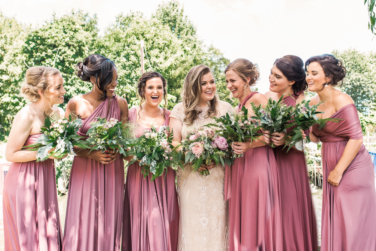Bride with bridesmaids group shot