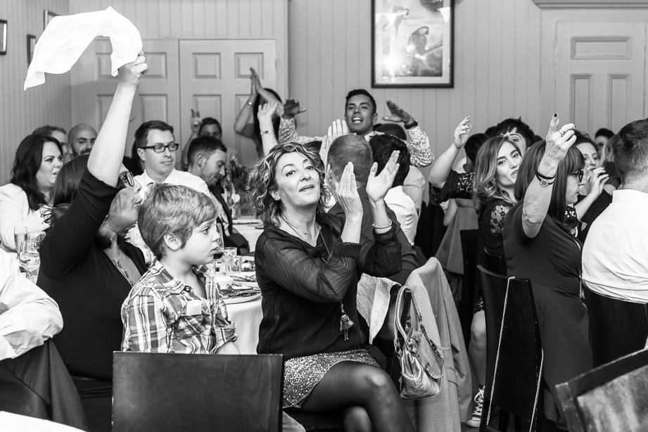guests celebrating at wedding at the Rosendale by documentary wedding photographer in South London and Kent