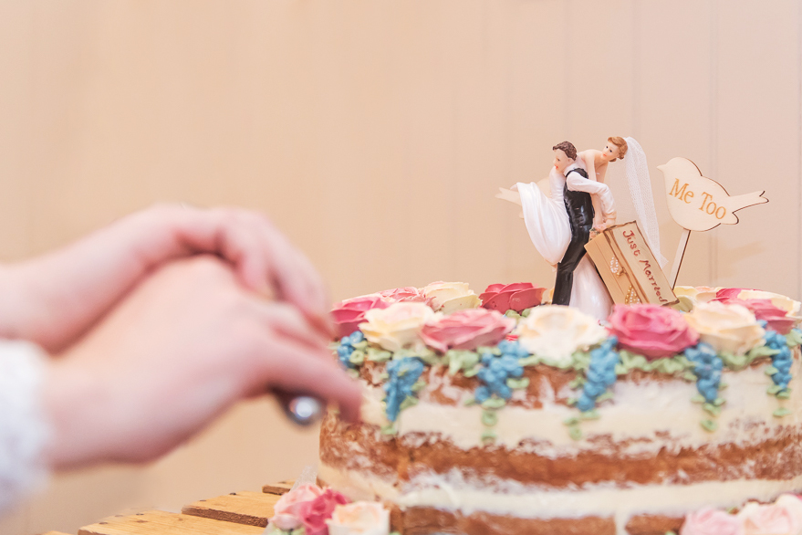 wedding cake with pink and blue flowers being cut, photographed by documentary wedding photographer in South London and Kent