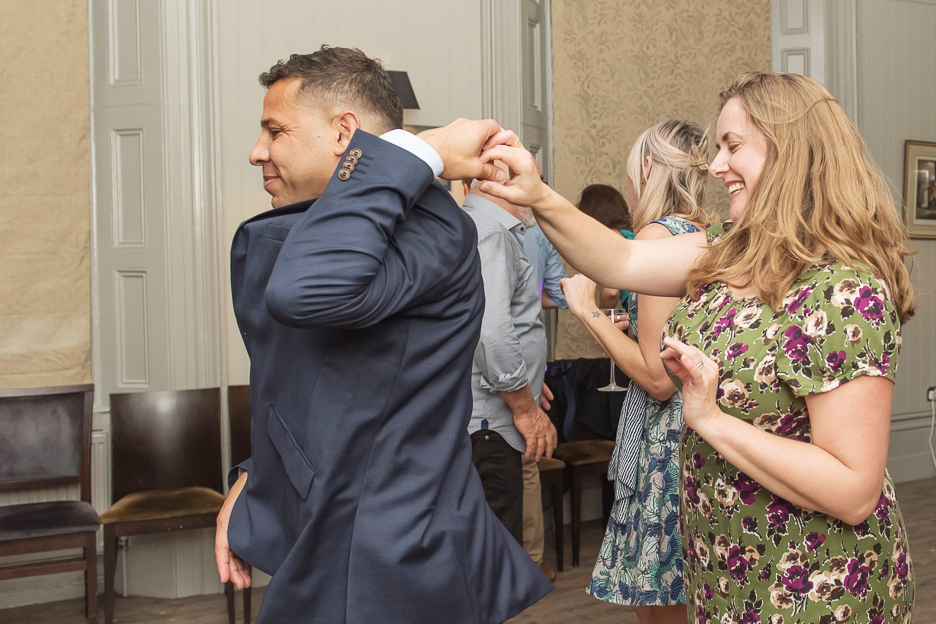 couple dancing at Rosendale wedding by documentary wedding photographer in South London and Kent