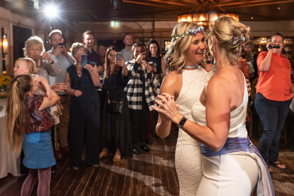 gay couple first dance at The Bedford in London by Wedding Photographer South London