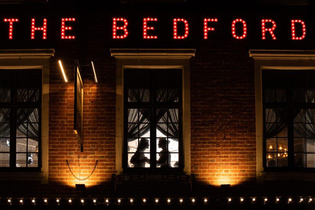 backlit brides portrait at the Bedford in London