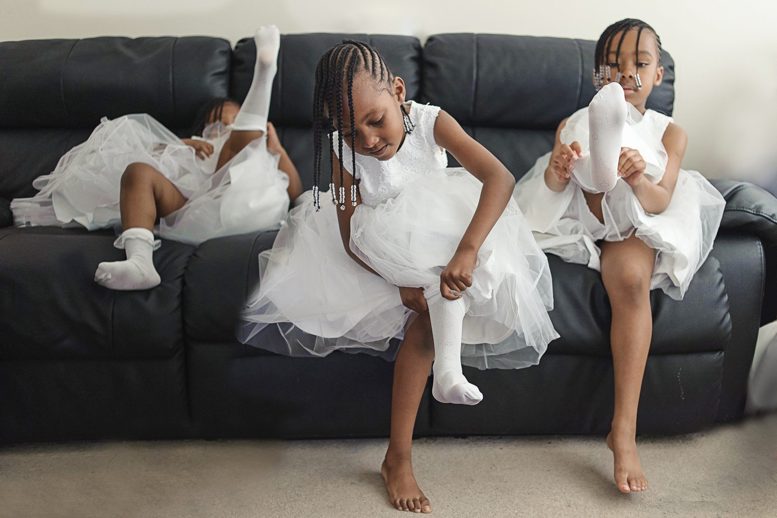 South London Wedding Photographer - flower girls getting ready