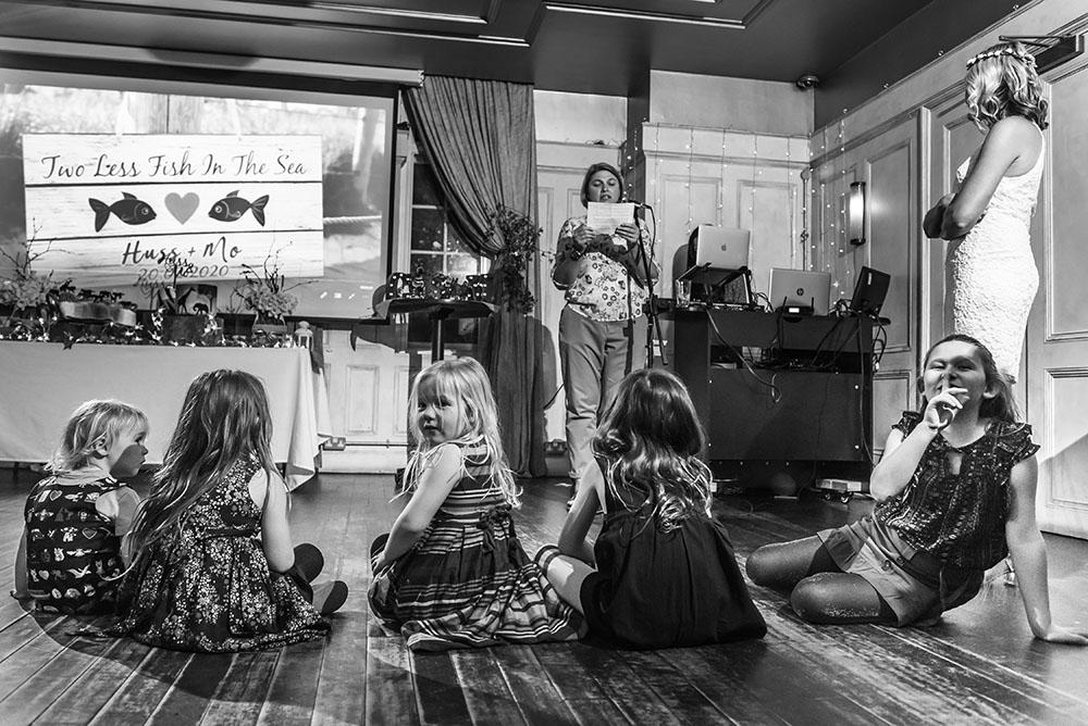 Children portrait during wedding speeches