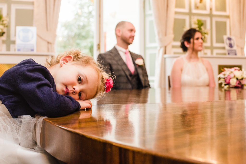 Couple and their daughter at the ceremony at Bromley Registry Office