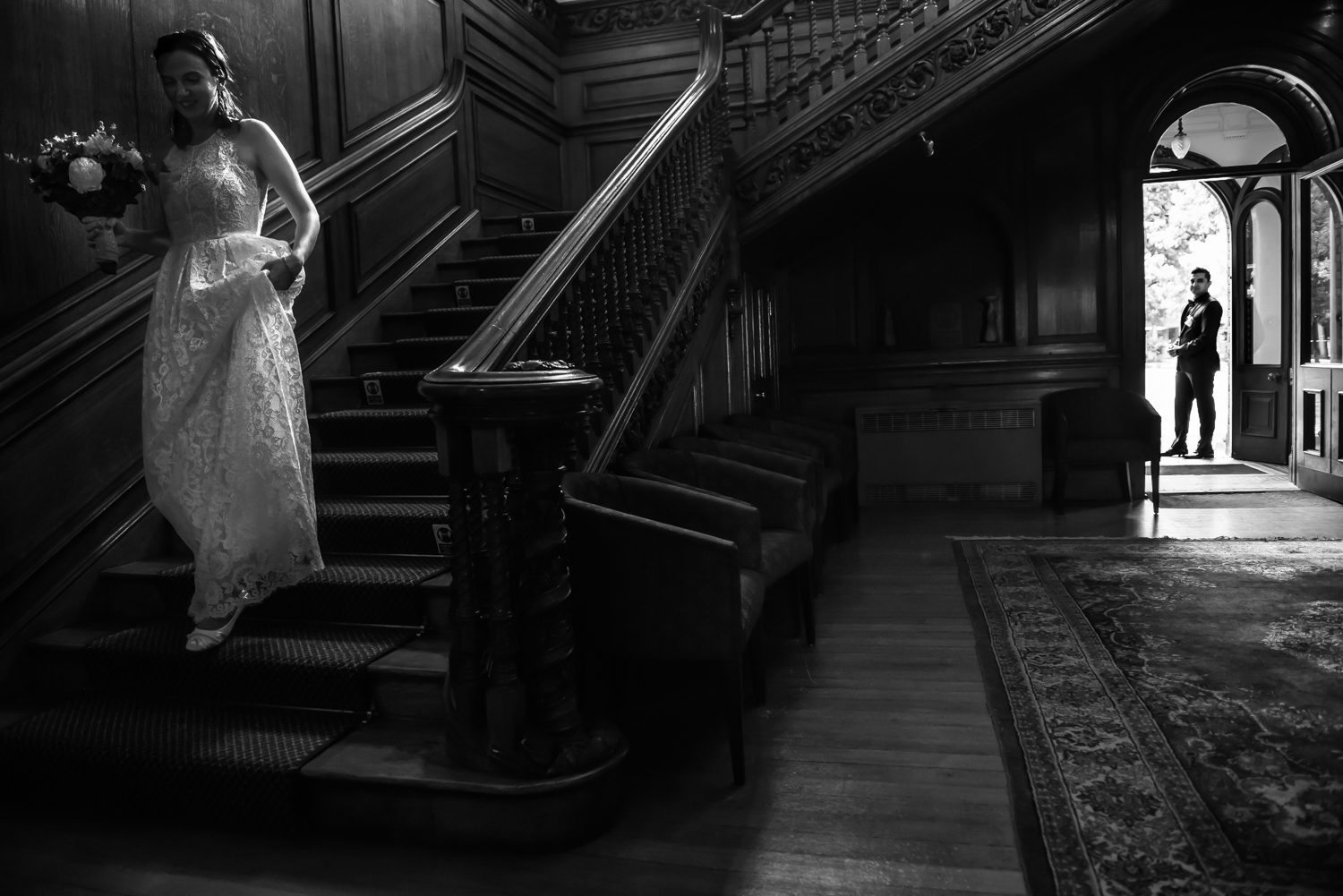Couple Portrait at the Old Palace staircase in Bromley
