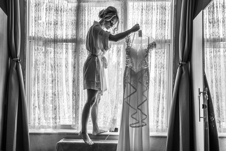 Bride with her wedding dress - South London Wedding photographer