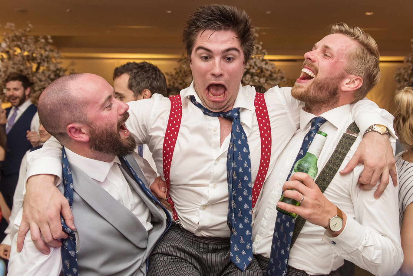 Groom and friends on the dance floor